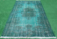 Turkish Rug 68''x106'' Handknotted Color Transition Blue Vintage Rug 5'7''x8'8''