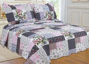 ALL FOR YOU Reversible Bedspread, Coverlet,Quilt *98* Flowers navy/pink Prints
