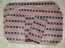 Set of 2 Longaberger All American Stars & Stripes Napkins & Placemats new nip