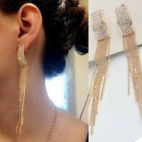 Women Gold Geometric Crystal Long Tassel Drop Dangle Earrings Jewelry Party Gift
