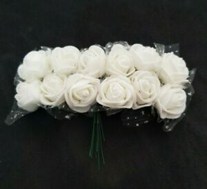 12 x Cream Wired Stem Foam Artificial Mini Roses Craft Flowers BUY 2 GET 1 FREE