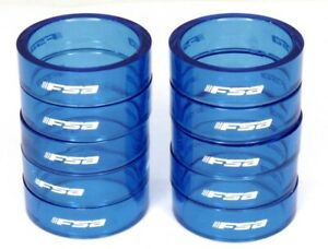 """FSA Bicycle Headset Spacers 10 mm x 1-1/8"""" Polycarbonate 10-Pack Blue"""