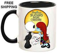 Jack and Sally, Birthday, Halloween Gift, Black Mug 11 oz, Coffee/Tea