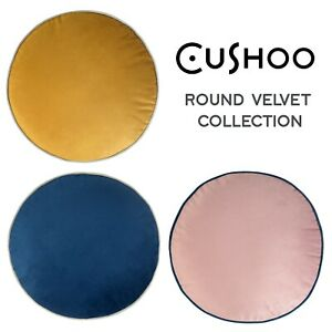 Velvet Round Cushion Navy Blue, Mustard Yellow Blush Pink Circle Decorative 40cm