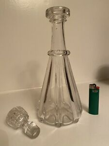 Early Pittsburgh Pillar Molded Clear Glass Decanter Pre 1850 AAFA Barware