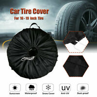 Car Truck Tire Cover Tyre Case Spare Wheel Protector Storage Bag Polyester Black