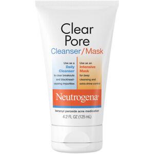 Neutrogena Clear Pore 2-in-1 Facial Cleanser & Clay Mask, 4.2 fl. oz EXP 12/2022