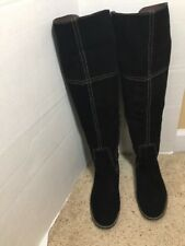 Lucky Brand Over Knee Tall Boots Sz 8.5 M Black Suede Leather Equestrian Riding
