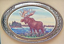 Moose Belt Buckle Barlow Photo Reproduction in Color Western Sliver 592609c NEW