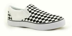 Ruier Checkerboard Slip On White Black B08