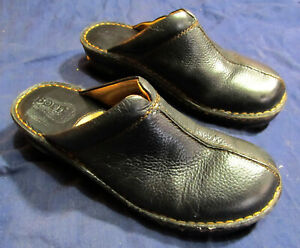 Womens Born Clogs Shoes Size 9 Black Leather Mules Slip On Wedge Heel Casual