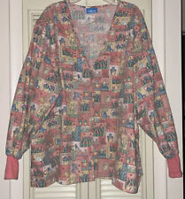 New Nwot Crest Multicolored Floral Cat Print Scrub Jacket Plus Size 4X