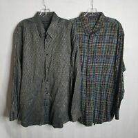 Jhane Barnes Mens Geometric Abstract Button Front L/S Shirt Large Lot of 2 U326
