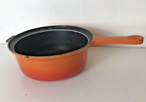 Le Creuset Size 22 Cast Iron Volcanic Orange Saucepan / Pan Made in France
