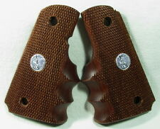 New, wood checkered grips for Colt 1911 Compact, Officer, Finger Grooves