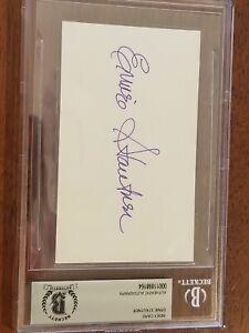 Ernie Stautner Signed 3x5 Index Card Beckett Encapsulated Dallas Cowboys Steeler