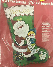 Vintage Bucilla Christmas Stocking Felt Jeweled Kit 2813 On Santas Lap 19""
