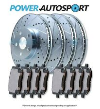 (FRONT + REAR) POWER DRILLED SLOTTED PLATED BRAKE ROTORS + CERAMIC PADS 92689PK