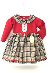 NEW GIRLS RED DRESS WITH BEIGE TARTAN CHECK & BOW KINDER BOUTIQUE 18 M - 4 Y