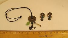 Vintage Oriental Asian Pendant Necklace Jade Set Coins Beads Leather Strung