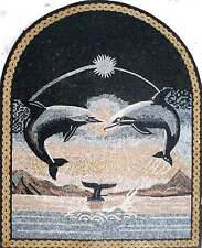 """50"""" Handmade Dolphins Playing Mural Home Design Marble Mosaic Art Tile Stone"""