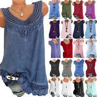 Women's Sleeveless Vest T Shirt Loose Tunic Casual Long Tops Blouse Plus Size