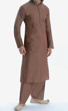 Men's banarsi marrone Kurta Salwar Vestito, sequenza di tutto & identificazione di lavoro, xxxl/44-46