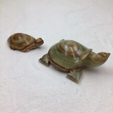 More details for 2 onyx turtle green brown ornament x2 carved paperweight parent baby