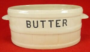 Antique English Ironstone Shop Butter Crock 81/2""