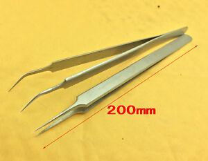 2PCS IC SMD needle nose Point Pointed Tip Curved Tweezers Eyebrows Tweezer bnib