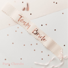 Hen Party Sash - Team Bride x 1 Sash - Pink & Rose Gold Design - Hen Party