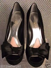 PARIS HILTON BLACK SATIN HIGH WEDGE PLATFORM FORMAL DINNER PEEP-TOE PUMPS SZ 7M