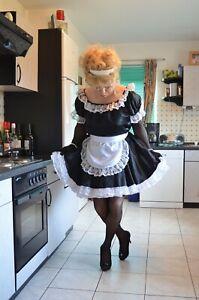 Black Satin SISSY MAIDS Uniform With Bonnet   sz M/L * FETISH * HUMILIATION * CD