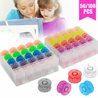 100/50PCS Colorful Sewing Machine Bobbins Thread Spools Case for Sewing Machine