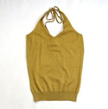 BROOKS BROTHERS New NWT Gold Classic Glam Stretch V Neck Halter Top Shirt  M