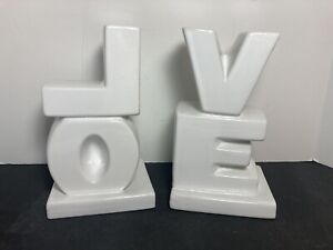 """LOVE Ceramic Bookends White 7.75"""" Home Office Library"""