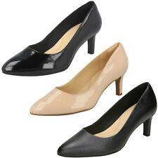 Mujer Clarks Cala Rosa Elegante Zapatos de Salón Cuero D & E Ajustes