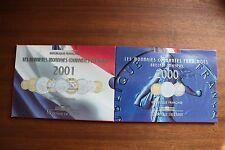2 COFFRETS BRILLANT UNIVERSEL EN FRANC  2000 / 2001