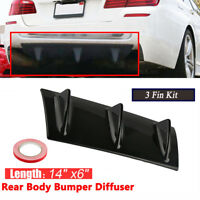 "Car ABS Spoiler Rear Shark Fin Style Curved Bumper Lip Diffuser 3 Fin SUV 14""x6"""