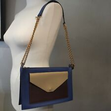Authentic CELINE Tri-colour Blue/Taupe/Maroon Pocket/Envelope Zip Clutch Handbag