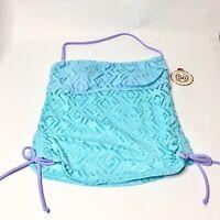 SO Junior Size S Aqua Purple Crochet Bandeau Strapless/Halter Tankini Top