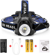 IMAGE LED Super Bright Head Torch Headlight, 2 Ways for Charging, 1800lm & for 2