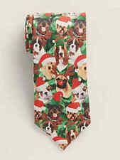 Knotty & Nice Musical Christmas Holiday Tie - Basset Hound English Bulldog NEW
