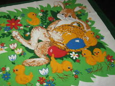 Easter Bunny Relaxes With Family Of Chicks! Vtg German Print Tablecloth
