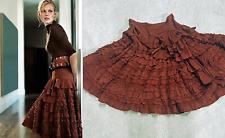 Anthropologie Lithe Regent Street Skirt size 8 Tiered Ruffled Rust