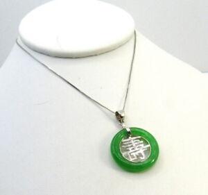 Vintage Sterling Silver Jade Necklace