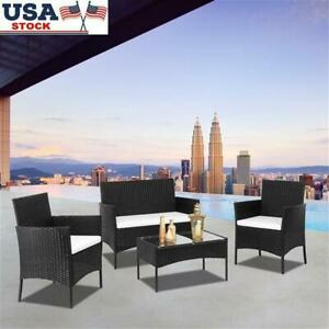2pcs Arm Chairs 1pc Love Seat & 1pc Tempered Glass Coffee Table Rattan Sofa Sets