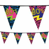 6m Plastic Bunting 1980's 80s Retro Banner Garland Party Decoration