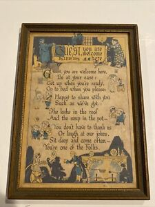 Vintage 1923 Buzza Motto Guest You Are Welcome Here Poem J. P. Mc Evoy PRINT