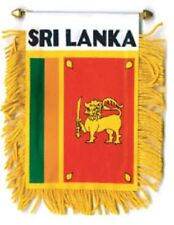 """Sri Lanka Mini Banner Flag 4 x 6"""" with Brass Staff & Suction Cup - New"""